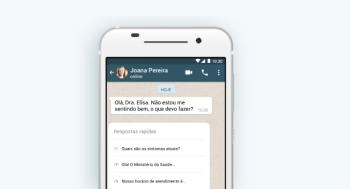 Respostas rápidas do WhatsApp /Reprodução/Gabrielle Lancellotti
