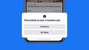 Facebook alerta usuário que tenta postar notícia antiga no feed