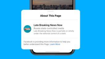 Facebook vai rotular páginas de notícias controladas por governos