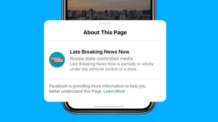 Aviso do Facebook sobre veículo apoiado por governo