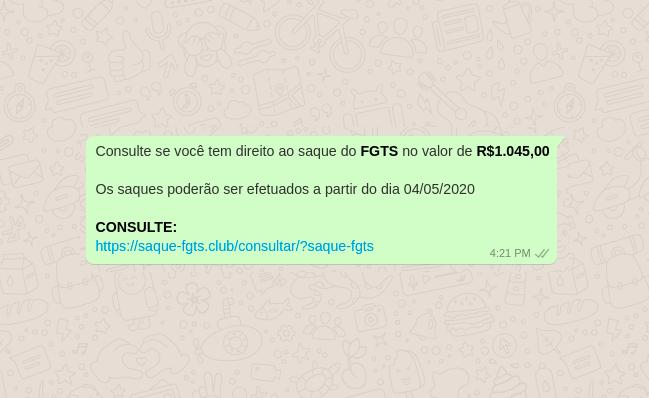 Golpe que circula no WhatsApp promete saque de FGTS (Foto: Reprodução/dfndr lab)