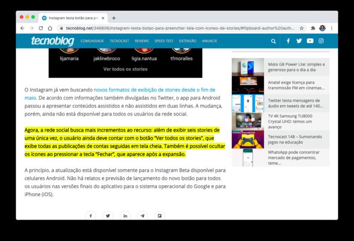 Recurso do Google Chrome cria link para trechos de textos (Foto: Reprodução/Bruno Gall De Blasi/Tecnoblog)