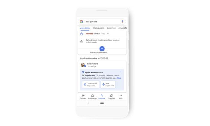 Google facilita doações a pequenas empresas através da busca (Foto: Divulgação/Google)