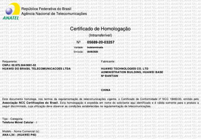 Huawei P40: certificado de homologação da Anatel (Foto: Reprodução/Bruno Gall De Blasi/Tecnoblog)