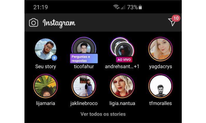 Instagram testa botão para exibir stories em tela cheia (Foto: Reprodução/@barbaaa/Twitter)