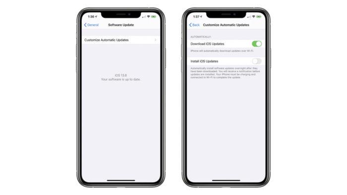 Novas opções de atualização automática do iOS 13.6 (Foto: Reprodução/MacRumors)