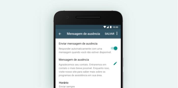 WhatsApp Business: mensagem de ausência/Reprodução/Gabrielle Lancellotti