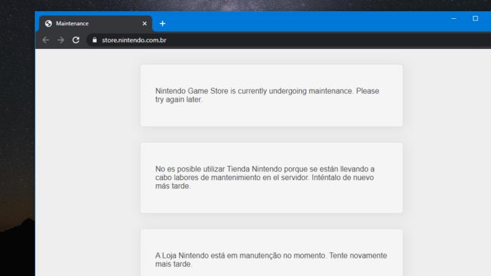Loja Nintendo em manutenção no Brasil