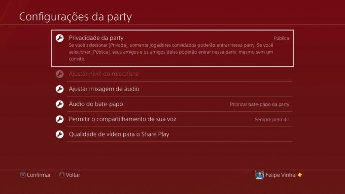 party ps4 / Felipe Vinha / Reprodução