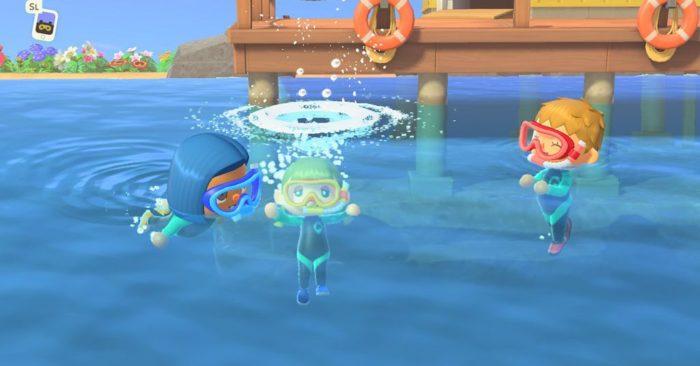 Nadar em Animal Crossing New Horizons