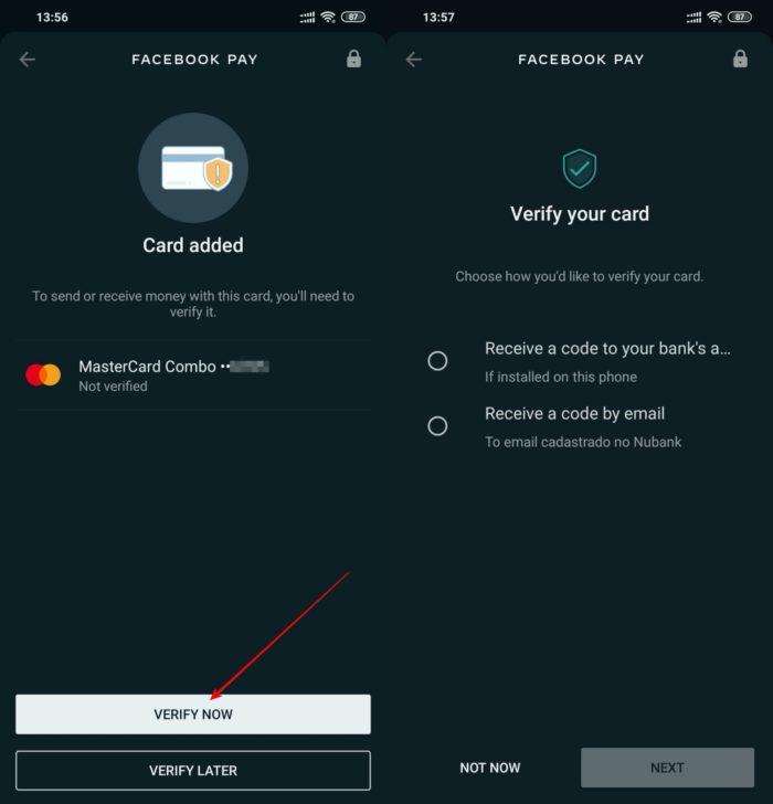 verificar cartao whatsapp pagamentos