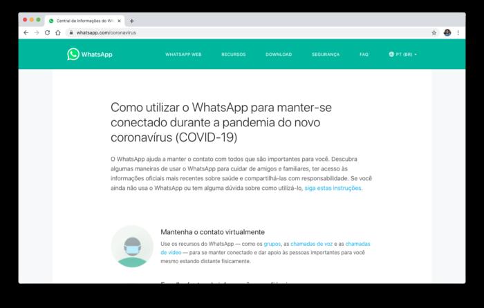 Central de Informações sobre o Coronavírus do WhatsApp (Foto: Reprodução/Bruno Gall De Blasi)