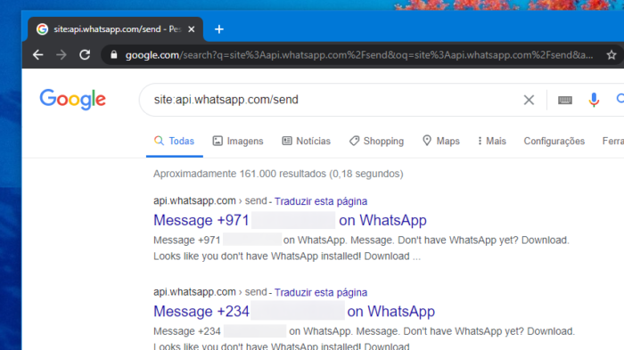 WhatsApp no Google