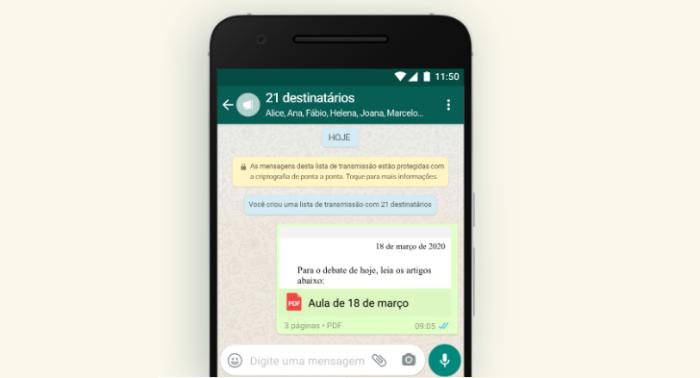 Lista de transmissão do WhatsApp/Reprodução/Gabrielle Lancellotti