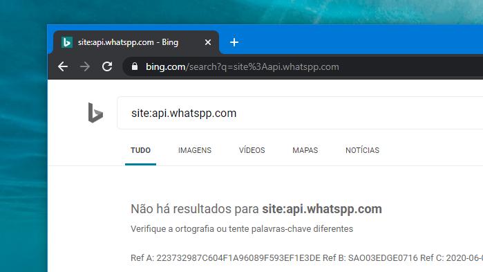Bing remove links do WhatsApp