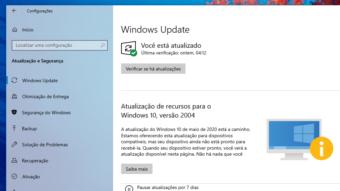Windows 10 avisa se PC não pode instalar May 2020 Update