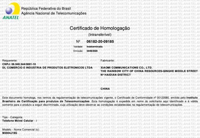 Certificado de homologação do Xiaomi Redmi 9 (Foto: Reprodução/Bruno Gall De Blasi/Tecnoblog)