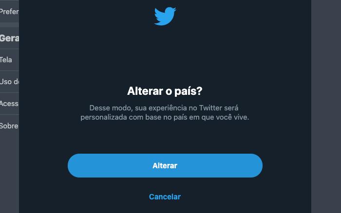 Alterar o país no Twitter