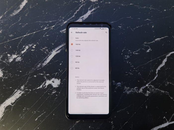 Tela do Asus ROG Phone 3 vai até 160 Hz (Foto: Reprodução/XDA-Developers)