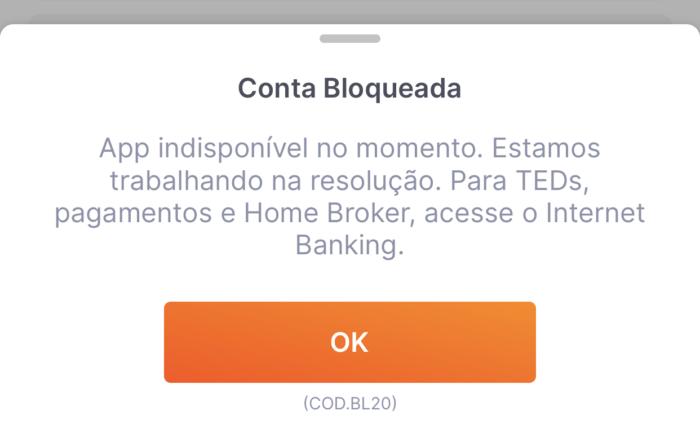 Conta bloqueada no Banco Inter