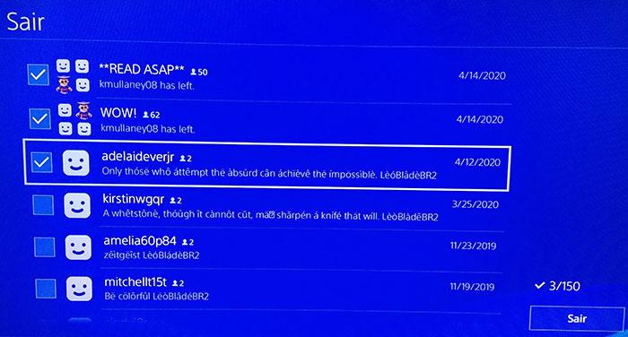 Como apagar uma mensagem do PS4