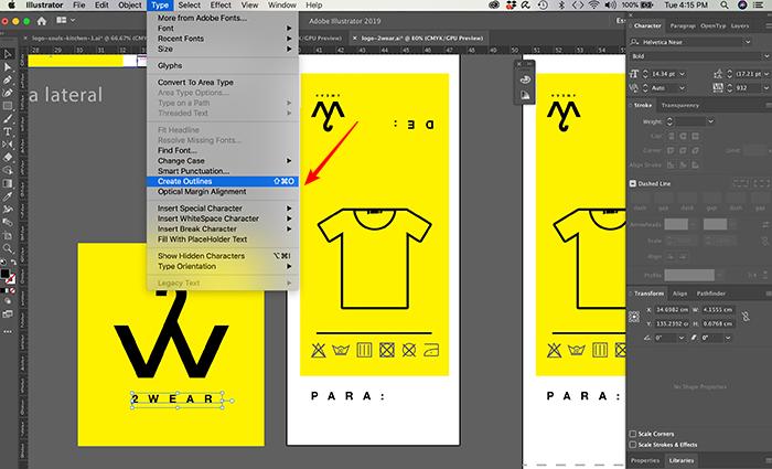Como converter fontes em curvas no Illustrator
