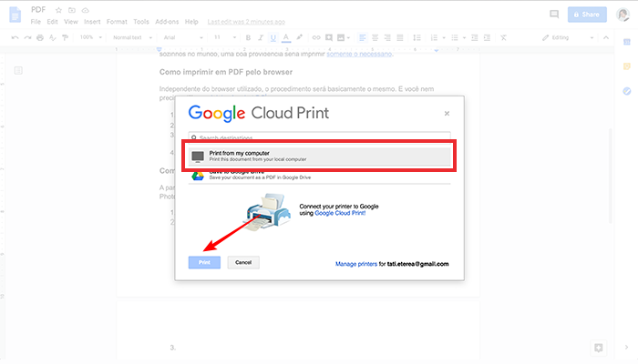 Como imprimir em PDF