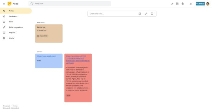 Como usar Google Keepp / Diego Melo / Reprodução