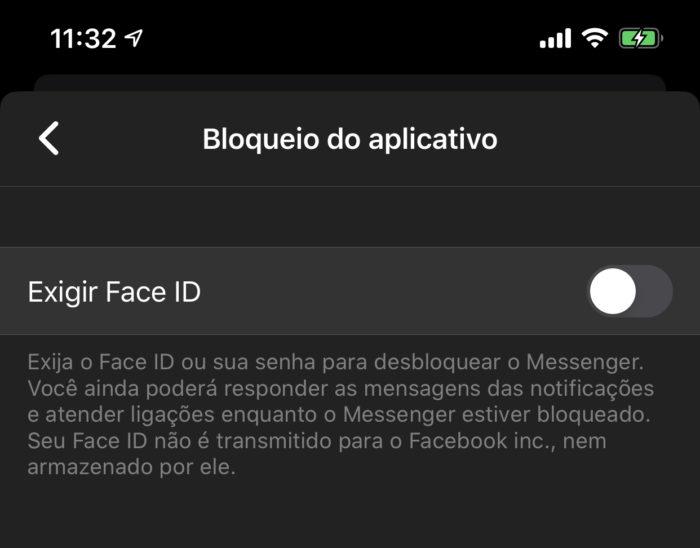 Facebook Messenger / Bloqueio do aplicativo