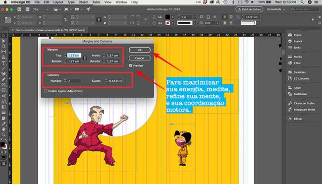 Como mudar o tamanho da folha no InDesign