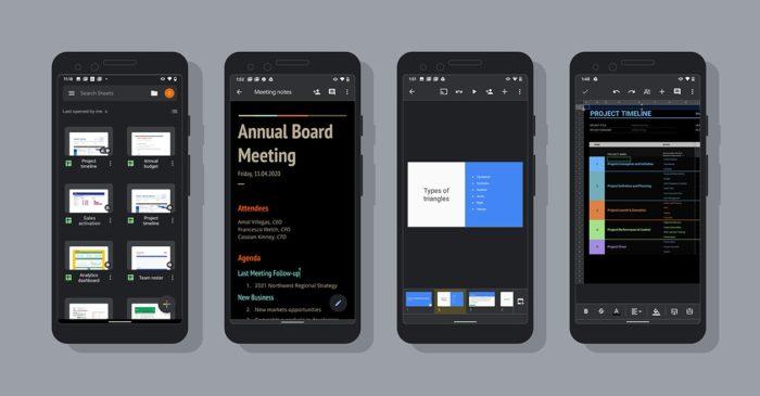 google docs planilha android modo escuro