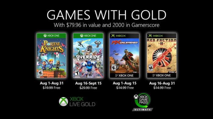 jogos xbox live gold agosto 2020