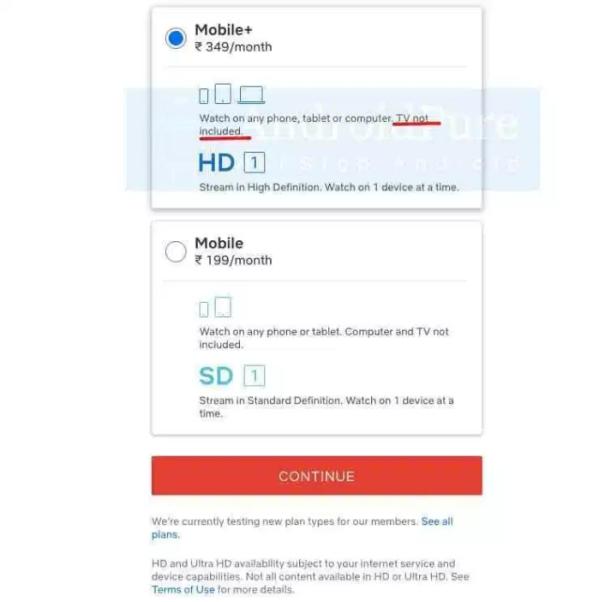Netflix Mobile+ / Índia (imagem: AndroidPure)