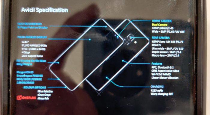 Possível ficha técnica do OnePlus Nord (Foto: Reprodução/Evan Blass/Twitter)