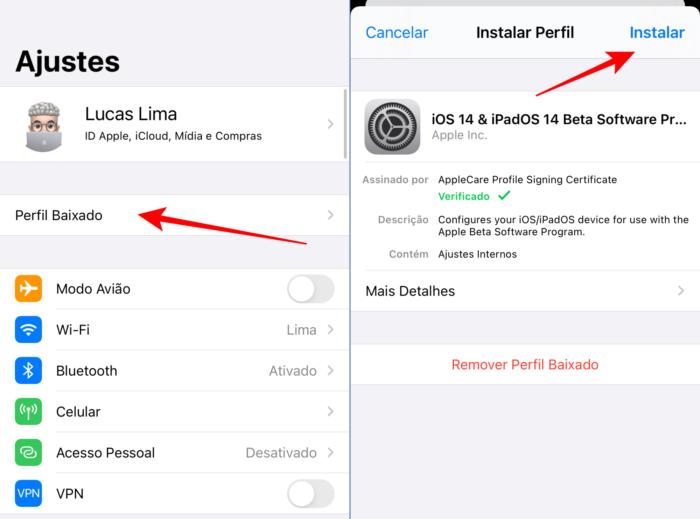 instalar perfil do beta público do iOS 14