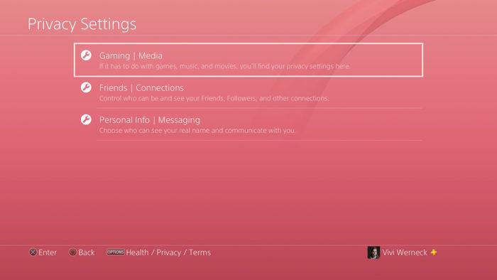 PS4 privacidade