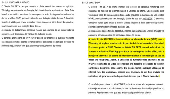 Versão anterior e atual do regulamento dos planos da TIM