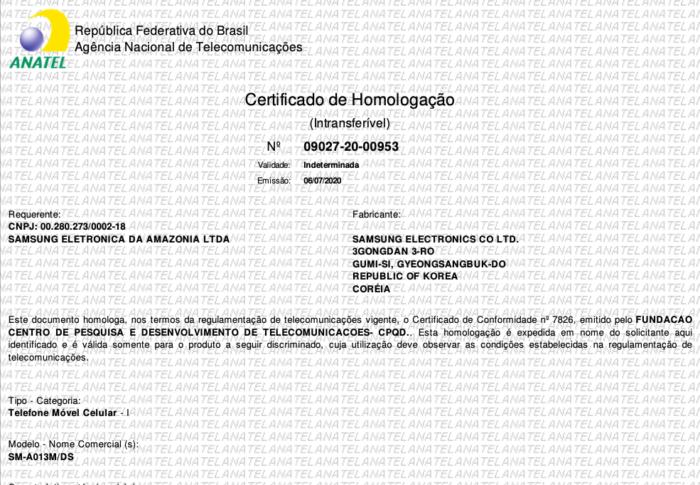 Certificado de homologação do Samsung Galaxy A01 Core (Foto: Reprodução/Tecnoblog)