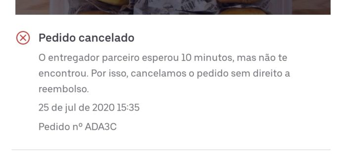 Uber Eats / golpe dos 10 minutos