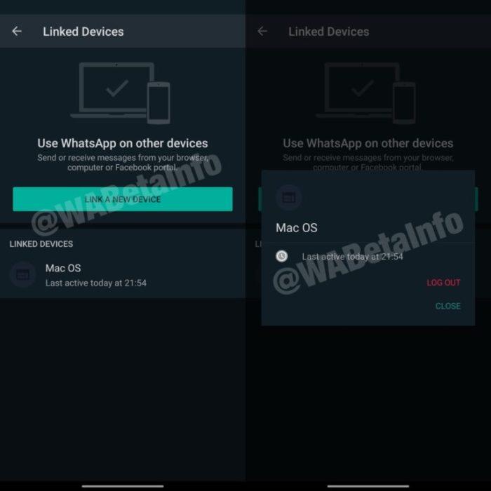WhatsApp - múltiplos dispositivos (capturas: WABetaInfo)