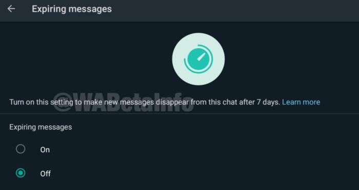WhatsApp testa mensagens que se apagam após sete dias (Foto: Reprodução/WABetaInfo)