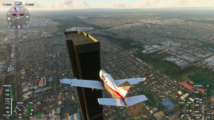 Erro de digitação em Flight Simulator criou estrutura de 212 andares / Reprodução / Engadget