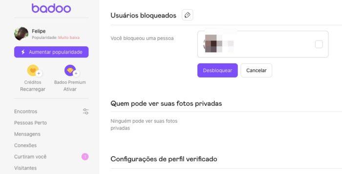 Como bloquear alguém no Badoo / Reprodução / Felipe Vinha