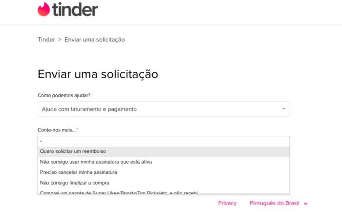 Como pedir reembolso no Tinder / Reprodução / Felipe Vinha