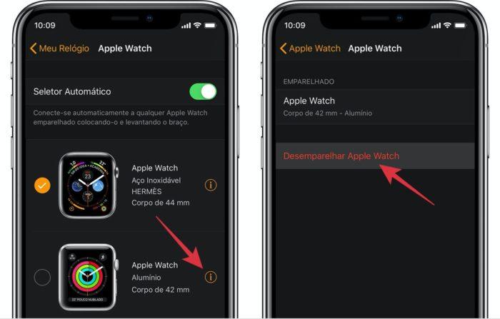 desemparelhar apple watch pelo aplicativo no iPhone