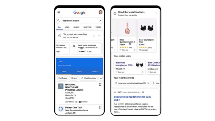 cards de atividade do google mostram empregos e produtos recentes