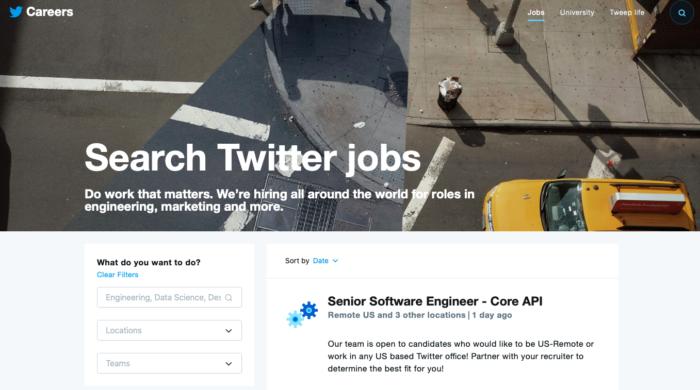 Página de empregos do Twitter