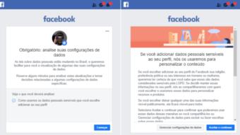 Facebook mostra aviso sobre dados pessoais e LGPD no Brasil
