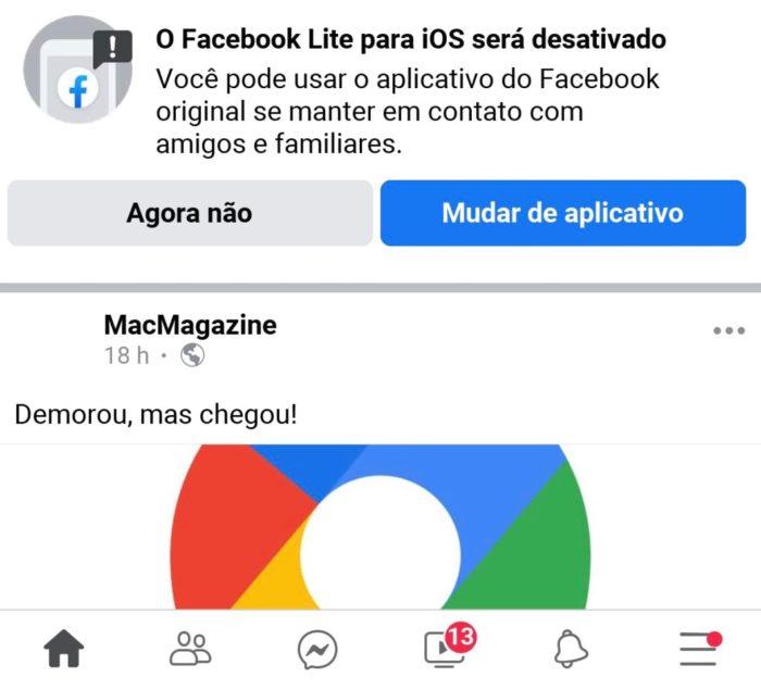 Aviso sobre o fim do Facebook Lite (imagem: @DalvaVeronica)