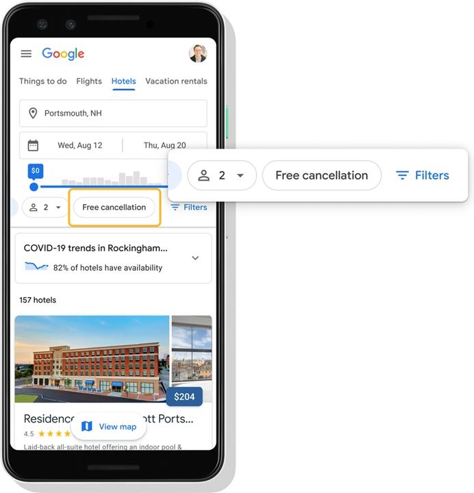 Google Viagens - cancelamento gratuito de hotel
